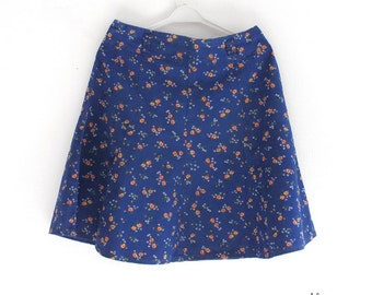 Vintage 70s blue flower print cotton skirt, Floral flared cut skirt, Girl retro clothing, Everyday girl skirt, School skirt, Flared skirt