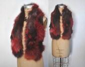 Fox Fur Scarf BOA Stole / red tones