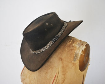 Brown Leather Hat / boho hippie FESTIVAL