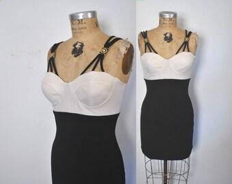 Bandage Bodycon Mini Dress / 1990s