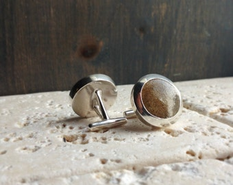 Sterling Silver Custom Sand Cuff Links Choose the sand of your favorite place in the world