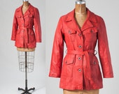 Vintage 70s Red Leather Jacket, Boho Belted Short Women's Coat, Front Button Trenchcoat with Pockets