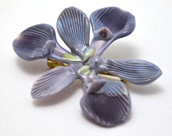 Stylized Iris Flower Brooch (3) - lampworked wearable glass flower made by Glass Artist Wesley Fleming
