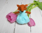 Felt fox  with bed woodland plush stuffed red fox clouds doll play set mint teen girl room decor baby shower gift kids gift