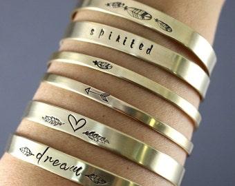 Custom Bracelet, Custom Brass Cuff, Copper Cuff, Choice Of 1, Personalized Cuff, Womens Cuff, Heart Cuff, Arrow Cuff, Feather Cuff, Cuff