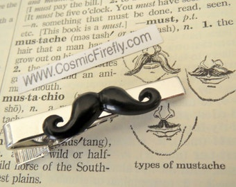 Black Mustache Tie Clip Men's Tie Clip Men's Gifts For Him Silver Tie Bar Victorian Moustache Tie Bar Steampunk - Father's Day Gifts