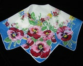 Vintage 1960's Hand Rolled Pink, Cranberry Pansy Floral Wedding Handkerchief or Doily, 9705