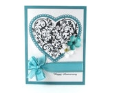 Anniversary card, congratulations, happy anniversary, wedding anniversary, teal, hearts, elegant anniversary, for wife, for husband