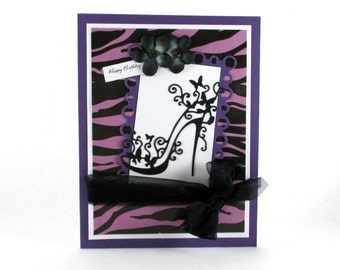 Birthday cards for her, zebra print, purple, high heel shoes, 21st birthday, 30th birthday, 40th birthday, personalized cards