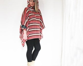 upcycled clothing, upcycled fashion, hooded poncho . secondhand serenade . S - XL