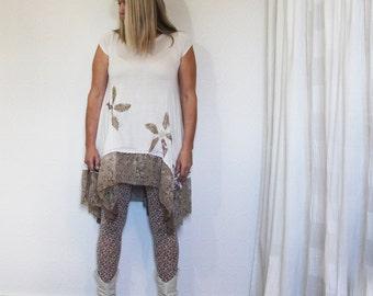 upcycled clothing, sustainable fashion, trapeze tunic .  L - XL