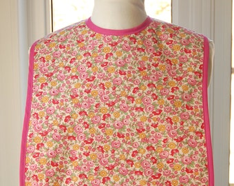 Liberty Pink Reversible Fabric Adult Bib - 3 layers of cotton - pretty floral print with light pink on back and absorbent flannel inside