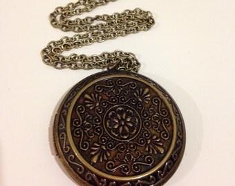 Locket necklace bronze locket long necklace large locket pendant necklace casual necklace -Bronze Locket Necklace