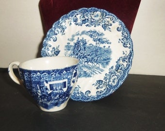 Vintage Demitasse Cup & Saucer Blue Johnson Bros Coaching Scenes Hunting Country