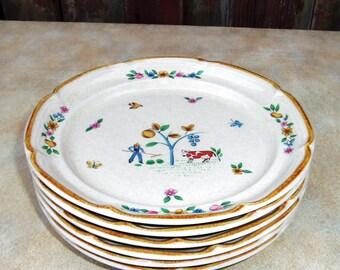 6 Vintage Dessert Bread Plates Heartland International China Stoneware Farmhouse cows sheep flowers fruit