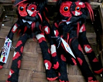 Plush Monster Mini in Black with Red Spikes Faux Fur Handmade Plushie Stuffed Toy