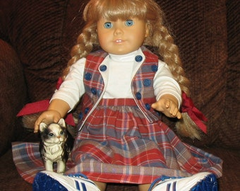Plaid Pals  skirt, tee and vest for American Girl