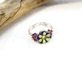 Purple Green Stretch Ring, Crystal Stretch Ring, Swarovski Crystal Ring, Stretch Band Ring, Elastic Ring, Crystal Flower Ring