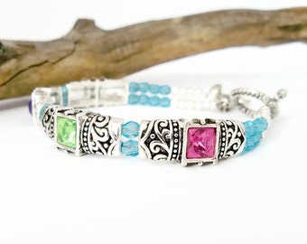 Spring Colors Crystal Cuff Bracelet, Silver Bangle, Antique Silver Bracelet, Double Strand Bracelet, Gift for Her,  Women's Bracelet