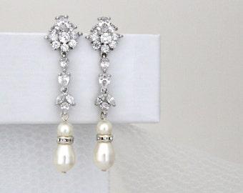 Long Bridal earrings, Crystal Wedding earrings, Wedding jewelry, Rhinestone earrings, Pearl earrings, Bridal jewelry, cz earrings