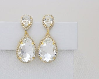 Gold Bridal earrings, Bridal jewelry, Crystal Wedding earrings, Swarovski earrings, Teardrop earrings Chandelier earrings Statement earrings