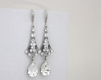 Vintage style bridal earrings, Crystal Wedding earrings, Swarovski crystal earrings, Swarovski Wedding jewelry, Art Deco earrings