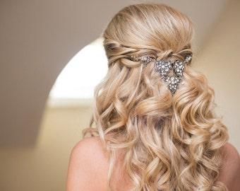 Bridal headpiece, Bridal hair vine, Bridal hair comb, Rhinestone headpiece, Vintage style hair comb, Wedding hair accessory, Statement hair