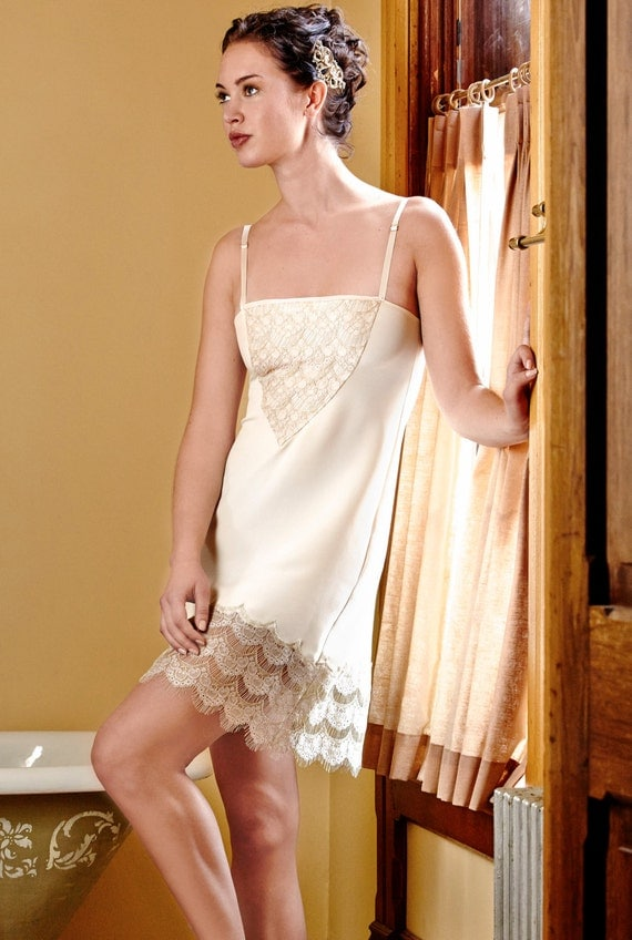 Retro Lingerie, Vintage Lingerie, 1940s-1970s Century Girl Slip ivory silk w/ handcut gold lace $184.00 AT vintagedancer.com