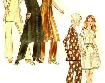 Bohemian Boho Tunic Top High Round Neckline, Straight leg Pants Vintage 1970s Butterick 5995 Sewing Pattern Size 12  Bust 34