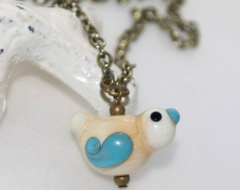 Lampwork Glass Ivory and Blue Bird with Paisley Wing Antique Chain Necklace