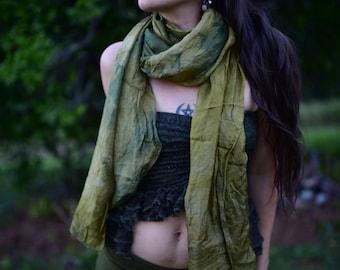 Tak Silk Hand Dyed Moss Scarf Shawl