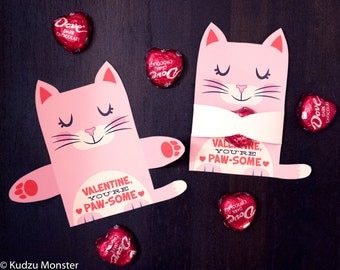 Pink Cat Valentine Classroom Candy Hugger valentines cute girly kitten individual candy valentine card Valentine's day chocolate holders