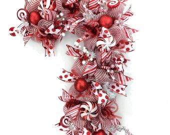 Deco Mesh Christmas Wreath Candy Cane Door Wreath Red White Peppermint Candy Holiday Wreath