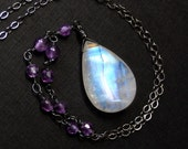 Rainbow Moonstone Necklace, BIG Moonstone, Amethyst, Oxidized Sterling Silver - Royal Moon by CircesHouse on Etsy