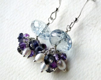 Mystic Blue Topaz Earrings, Amethyst Earrings, Iolite, Pearl - Hydrangea by CircesHouse on Etsy