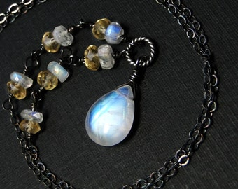 Moonstone Necklace, Rainbow Moonstone, Citrine Necklace, Oxidized Sterling Silver - Goldmoon by CircesHouse on Etsy