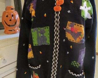 Vintage Novelty Halloween Sweater - Front Zip Black & White Cardi - Pumpkin Patch Pockets - Colorful Halloween Vignettes - Halloween Costume