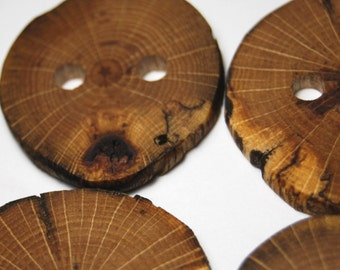 Assorted Wooden Buttons, Natural Wood Buttons, Rustic Wooden Buttons, Four Handmade Oak Wood Buttons, 1 1/2 to 1 7/8 Inches