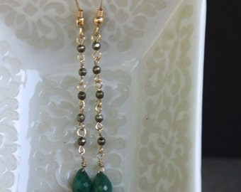 Pyrite and Emerald Green Earrings - May Birthstone Earrings