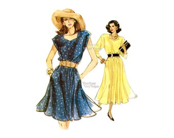 Sweetheart Neckline Dress Pattern 1980s Vogue 7147 Easy Sewing Blouson Dress with Cap Sleeves, Flared Skirt Size 8 10 12, Uncut
