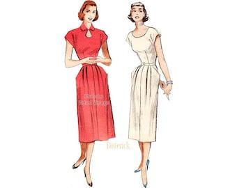 1950s Keyhole Dress Pattern Butterick 5671, One Piece Scoop Neck or Keyhole Neckline Dress Vintage Sewing Pattern Bust 32
