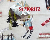 Screen print fabric, Winter Sports, New England, St. Moritz, retro look, Vilber made in Spain, 2.18 yds, pillows, upholstery supplies
