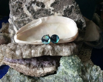 Blue Paua Shell Stud Earrings Titanium Posts and Clutches Handmade in Newfoundland 8mm Round Deep Blue Hypo Allergenic