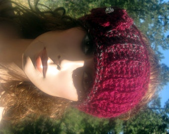 Headband/Ear Warmer Cranberry Ribbed Vegan Rose With Rhinestone Hand Crccheted