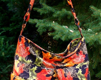 Black with Fall Leaves  - Bag, Purse, Shoulder Bag, Hobo, Outside Pockets