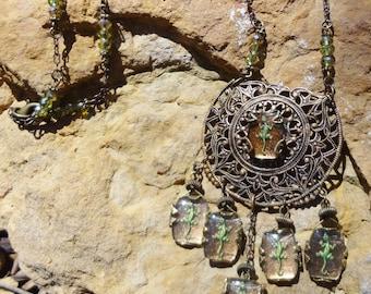 Vintage Intaglio Lizards Necklace