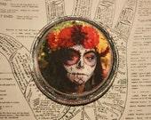 Beautiful Death, 4 x 4, Original Miniature Art, Day of the Dead, Dia De Los Muertos, Cinco de Mayo, Skeleton, Flower Headdress, Red