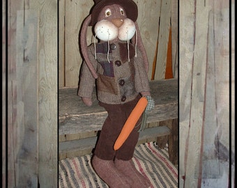 Tall Primitive brown wool rabbit rag doll corduroy pants patchwork wool coat hat HAFAIR OFG faap Lazy Dayz Lucy