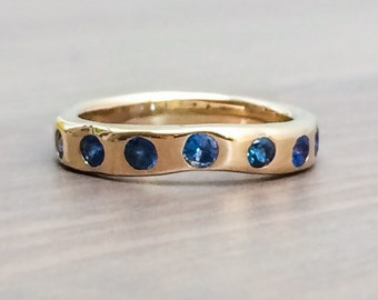 Free Shipping Worldwide. Blue Sapphire Ring, 14K Gold Sapphire Wedding Ring, Seven Sapphire Ring, Sapphire Wedding Band, Wedding Ring