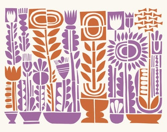 Fourteen Flowers, a colorful paper stencil screenprint